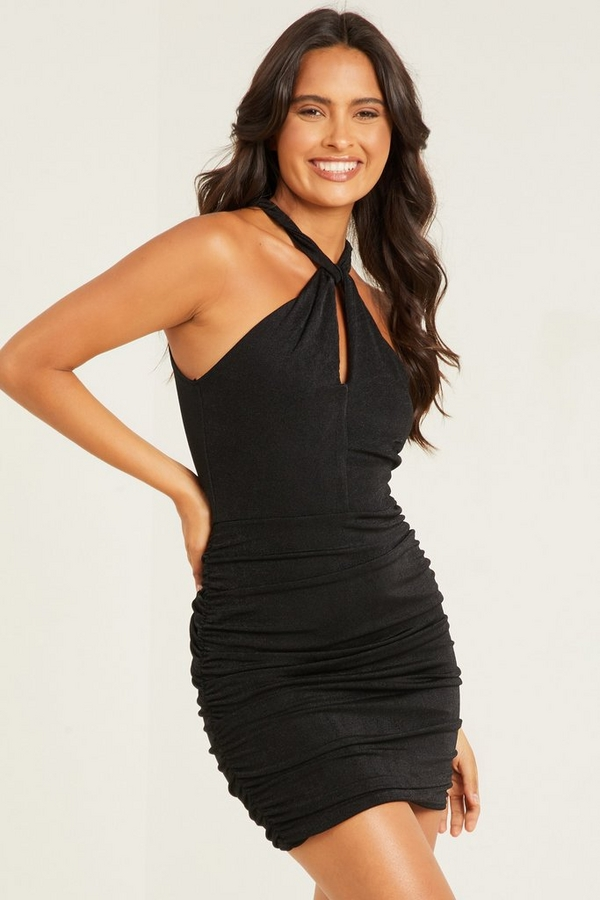 Black Halter Neck Ruched Bodycon Dress