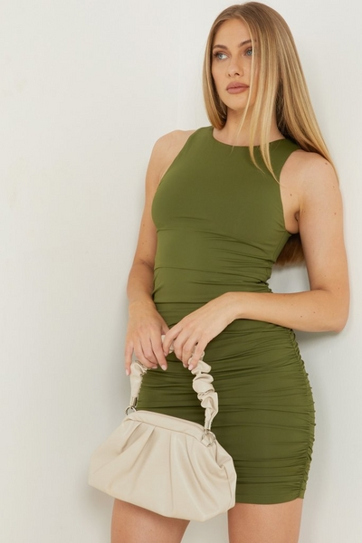 Khaki Ruched Bodycon Dress