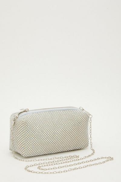 Silver Diamante Chain Bag