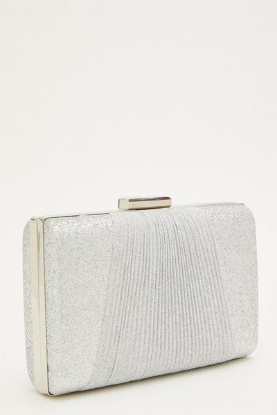 Silver Glitter Pleated Clutch Bag
