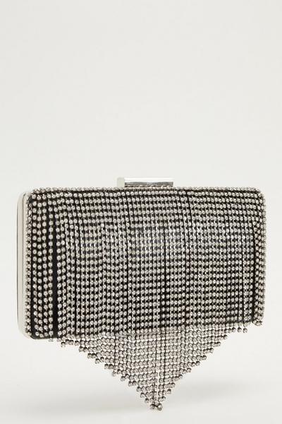 Black Diamante Fringed Clutch Bag