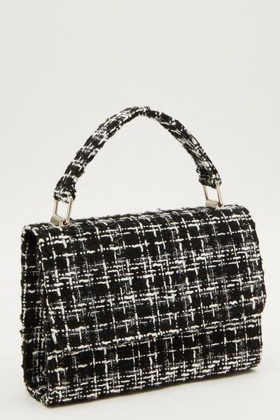 Black Tweed Top Handle Bag