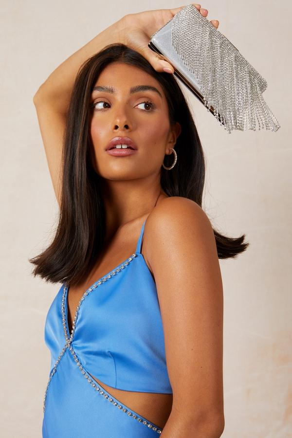 Silver Diamante Fringed Clutch Bag