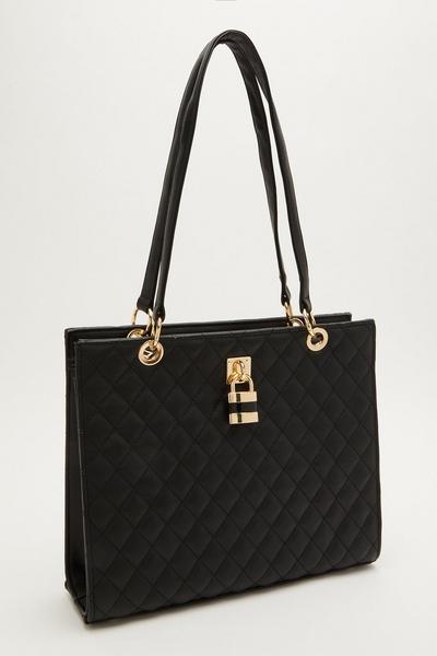 Black Quilted Padlock Tote Bag