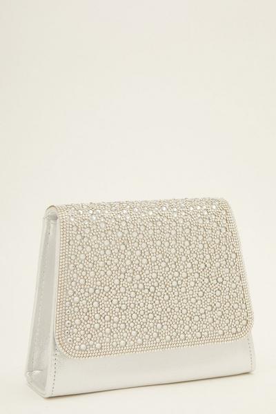 Silver Shimmer Diamante Front Bag