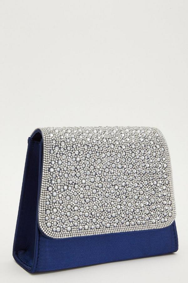 Navy Satin Diamante Front Bag