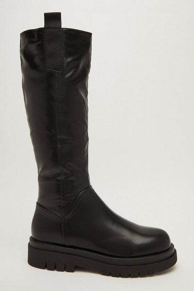 Black Faux Leather Chunky Boots