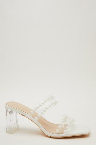 White Pearl Clear Mule Heel