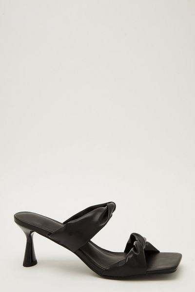 Black Faux Leather Knot Heeled Sandals