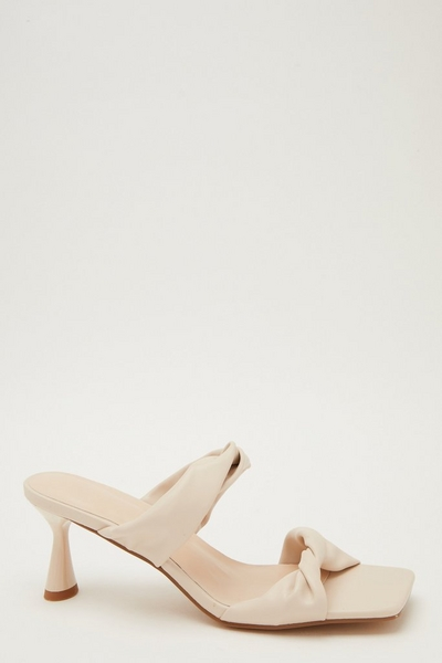 Cream Faux Leather Knot Heeled Sandals