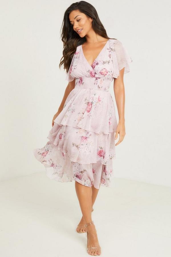 Pink Floral Chiffon Midi Dress
