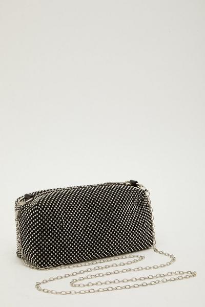 Black Diamante Chain Bag