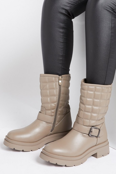 Stone Faux Leather Ankle Boots