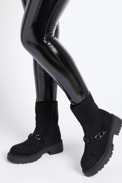 Black Faux Suede Chain Ankle Boots