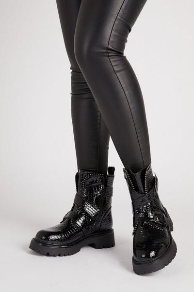 Black Stud Crocodile Ankle Boots