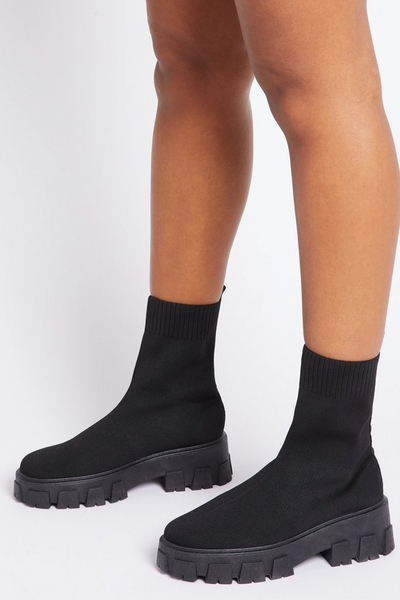Black Knitted Chunky Sock Boot