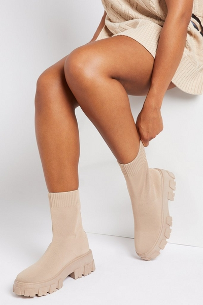 Taupe Knitted Chunky Sock Boot