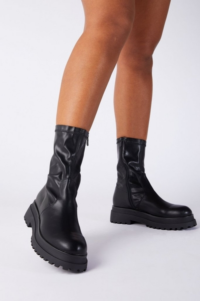 Black Faux Leather Chunky Sock Boot