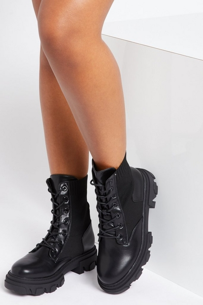 Black Knitted Chunky Lace Up Boots