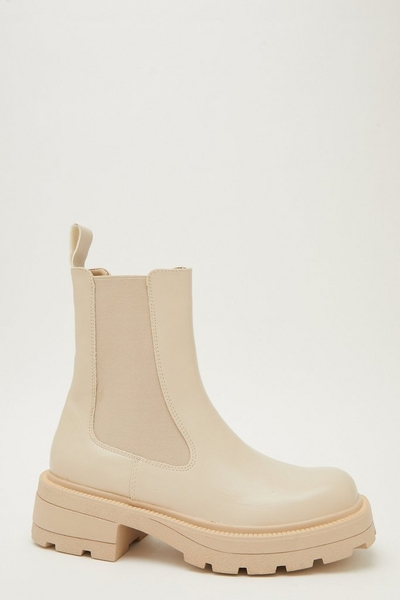 Cream Faux Leather Chelsea Boot