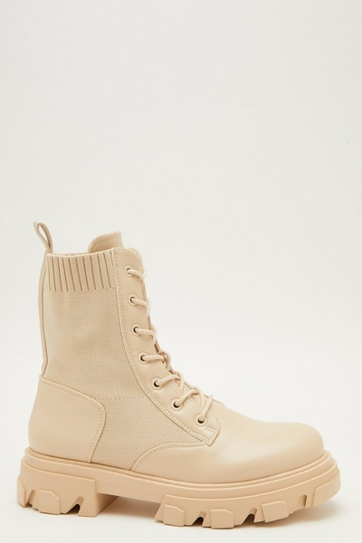 Cream Knitted Chunky Lace Up Boots