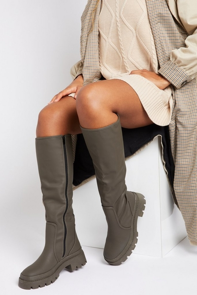 Khaki Faux Leather Knee High Boots