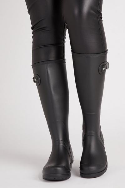 Black Knee High Welly Boot