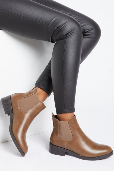 Tan Faux Leather Chelsea Boot