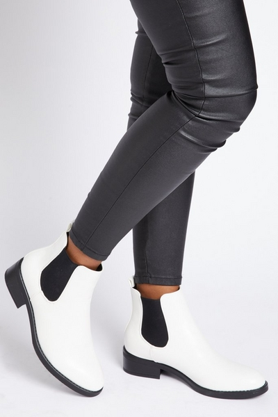 White Faux Leather Chelsea Boot