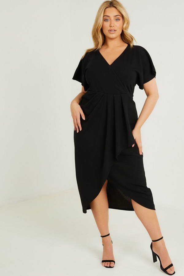 Curve Black Wrap Midi Dress