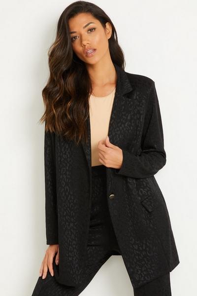 Black Animal Print Suit Jacket
