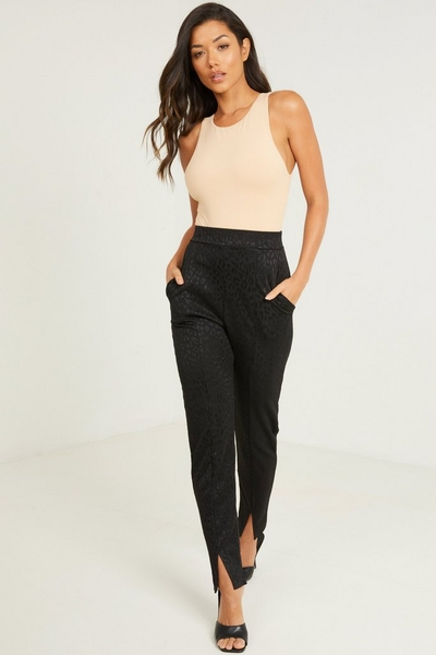 Black Animal Print Tapered Trousers