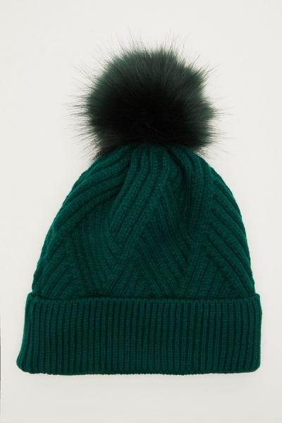 Green Twist Knot Pom Hat