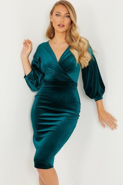 Green Velvet Wrap Midi Dress