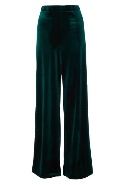 Green Velvet Palazzo Trousers