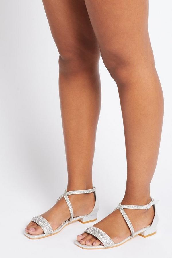 Silver Diamante Flat Sandal