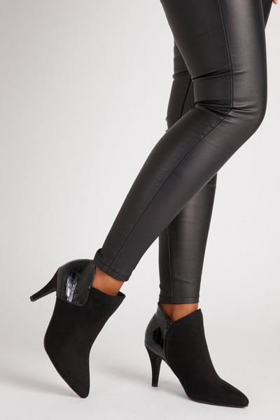 Black Faux Suede Heeled boot