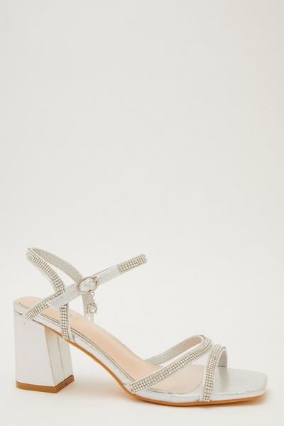 Silver Shimmer Block Heel Sandals
