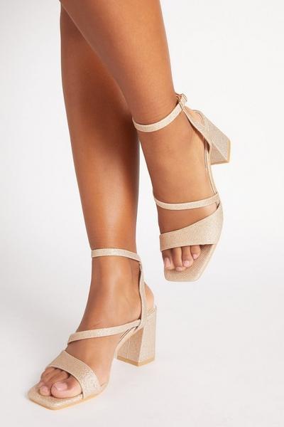 Gold Glitter Block Heel Sandals