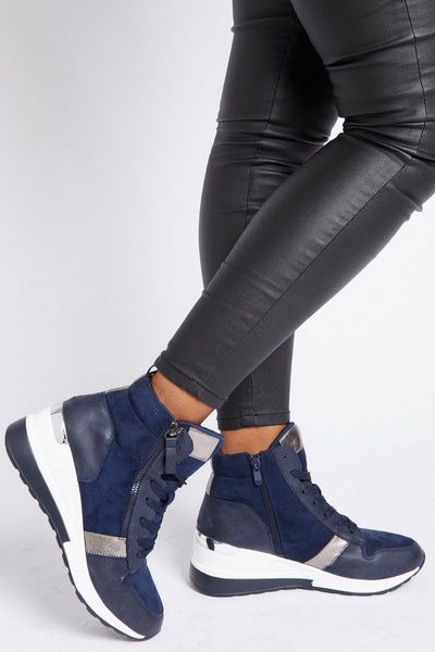 Navy High Top Panelled Trainers