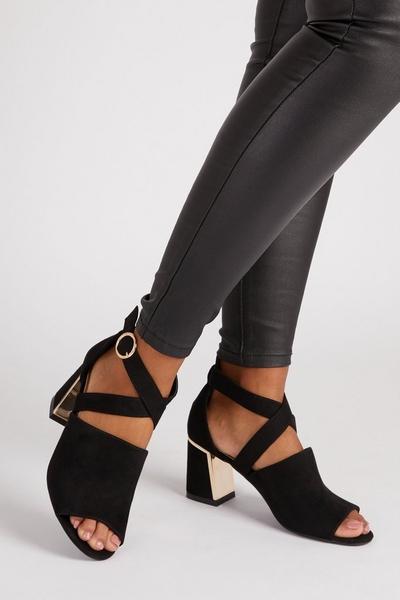 Black Faux Suede Cut Out Shoe Boot