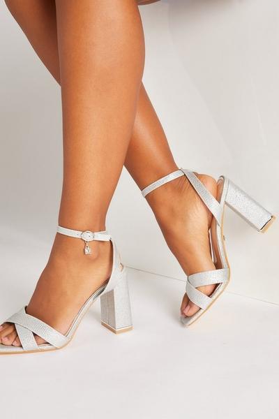 Silver Glitter Cross Strap Heeled Sandals