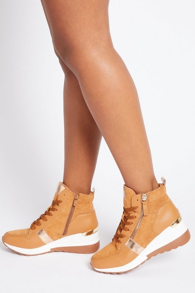 Camel High Top Trainers
