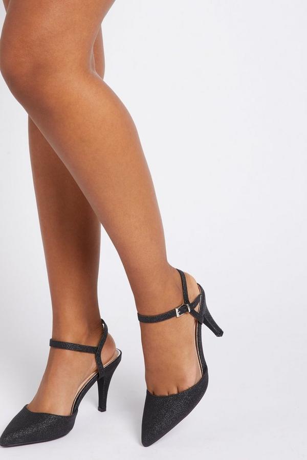 Black Shimmer Court Heels