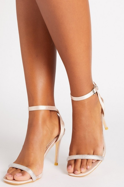 Champagne Satin Barely There Heeled Sandals
