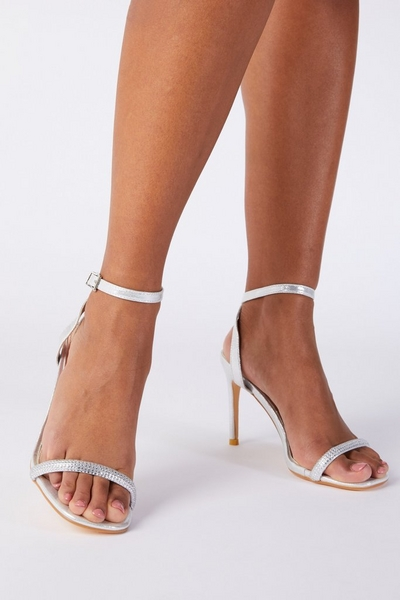 Silver Shimmer Barely There Heeled Sandals