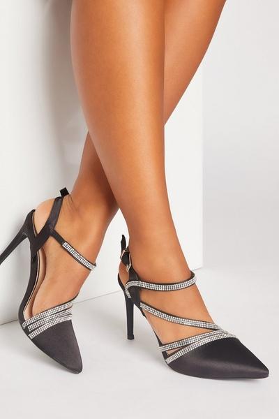 Black Satin Asymmetric Court Heels
