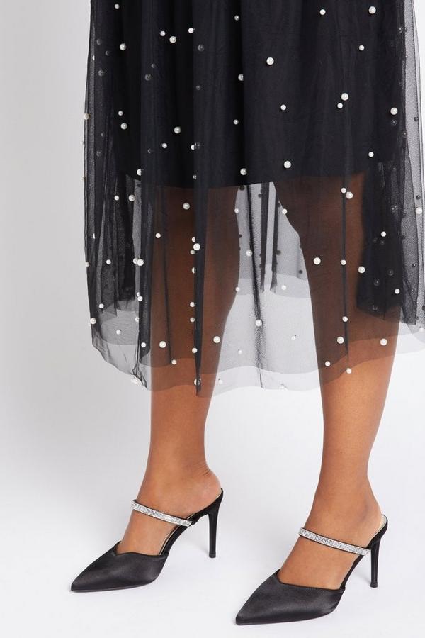 Black Diamante Court Heel