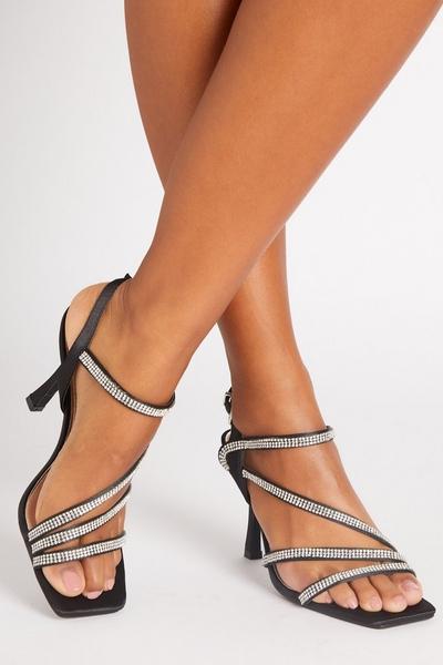 Black Diamante Strap Heeled Sandals