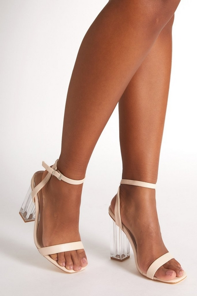 Nude Faux Leather Clear Heeled Sandals